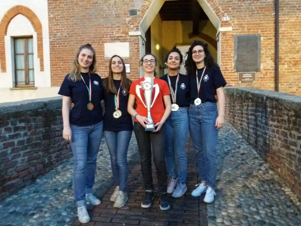 la squadra campione regionale: da sinistra, Sara Guerini, Maria Andolfatto, Elisa Cassi, Isabella Gennaro, Silvia Guerini